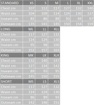 Таблица размеров вейдерсов Vision